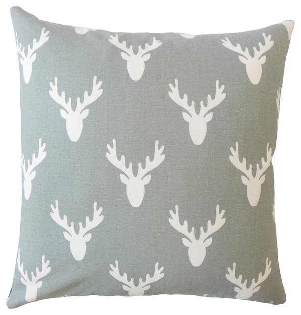 The Pillow Collection Hafwen Coastal Gray Down Filled Throw Pillow