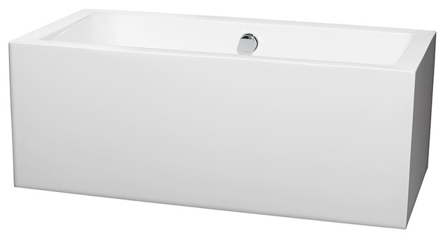 "Melody 60"" Freestanding White Bathtub With Polished Chrome Drain, Overflow Trim."