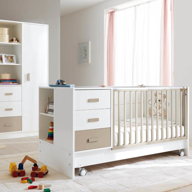 39 zoom 39 39 voyager 39 contemporary wooden baby cot with storage for Affordable modern nursery furniture