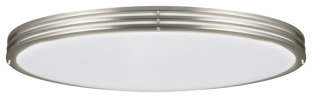 Oval Led Ceiling Flush Mount, Brushed Nickel.