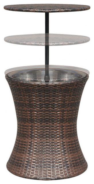 Vidaxl Ice Cooler Bucket Table Poly Rattan Brown Tropical