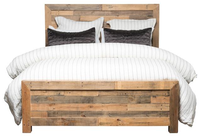 Kosas Norman Reclaimed Pine Queen Bed Natural