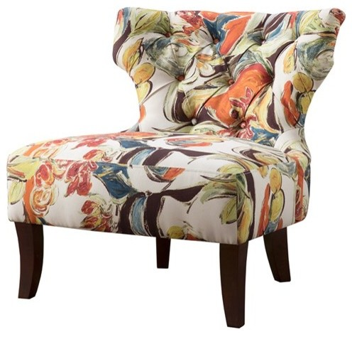 Erika Hourglass Tufted Armless Chair, Multi.