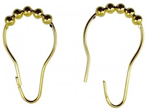 24 All Brass Shower Curtain Hook Ring Roller Ball |