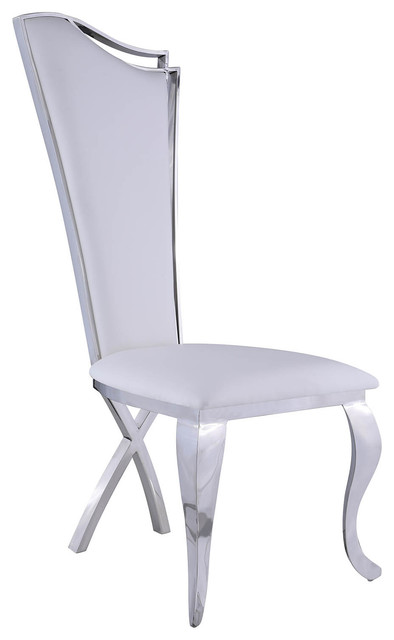 Nadia Contemporary Tall Back Side Chairs, Set Of 2.