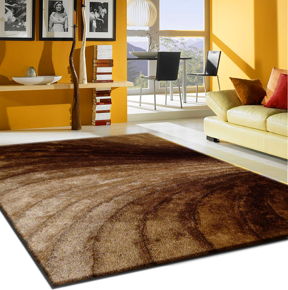 3D Gold Brown Living Room Shag Area Rug, 5\'x8\' Hand-Tufted