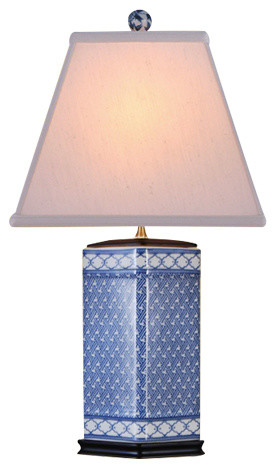 Kaleidoscope Porcelain Table Lamp, Blue And White.