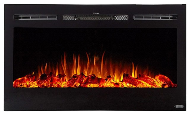 Touchstone The Sideline36 36 Recessed Electric Fireplace With Heat In Black.