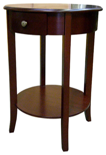 Round Shape End Table In Cherry Finish