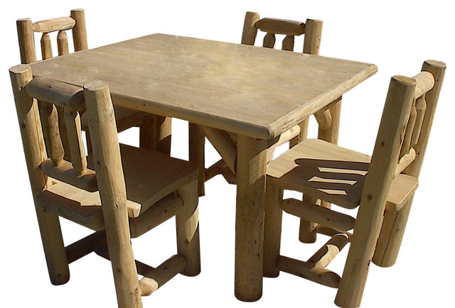 5 Piece Rustic White Cedar Log Table And 4 Chairs Set