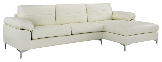 Contemporary L-Shape Leather Sectional Sofa, Right Chaise, Beige