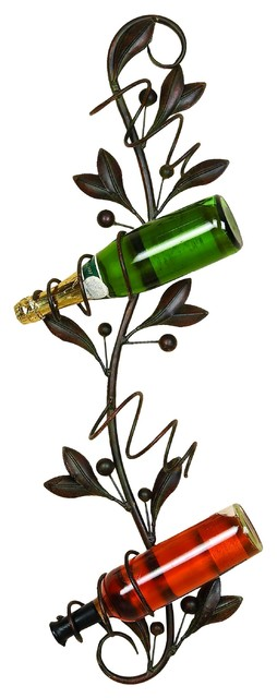 Metal Leaf Style Wall Wine Holder, Bronze.