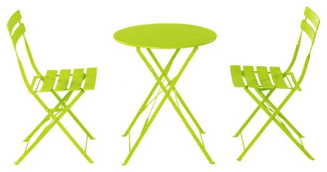 3-Piece Outdoor Balcony Folding Steel Bistro Furniture Set, Foldable Table And C.