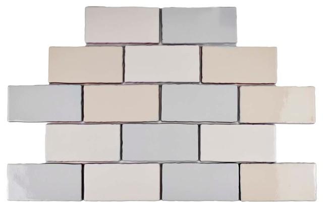 """Contemporary Wall Tile 3""""x6"""" artic craquelle ceramic wall tiles, set of 32 - contemporary"""