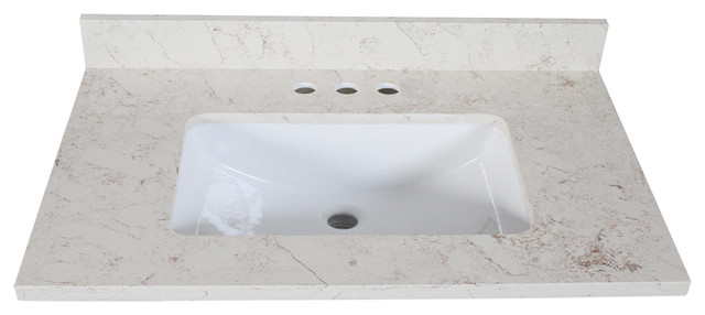 "Quartz Vanity Top, Giallo, 31""x22""."