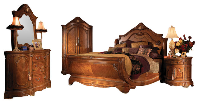 4 Piece Cortina King Size Sleigh Bedroom Set Honey Walnut
