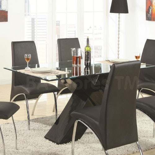 Ophelia Contemporary Glass Top Dining Table With Black X