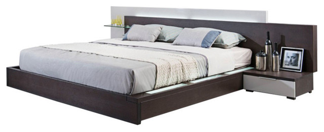 Low Profile Storage Bed And Nightstand Bedroom Set, Queen