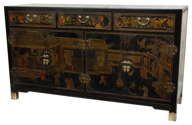 Black Lacquer Large Buffet Table - Traditional - Buffets And Sideboards - by Oriental Furniture