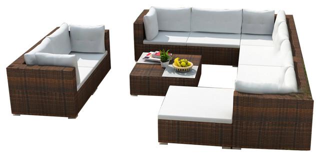 Vidaxl Garden Sofa Set 32 Pieces Wicker Poly Rattan Brown Outdoor Lounge Seat