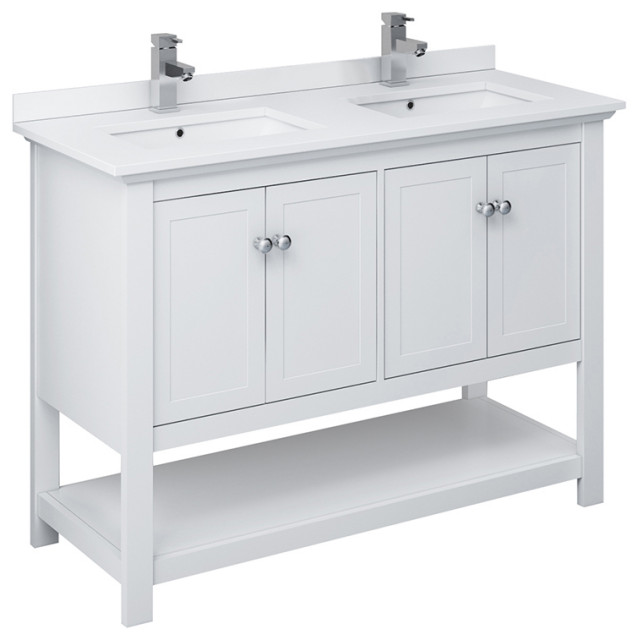 "Fresca Manchester 48"" White Double Sink Cabinet, Top and Sinks"