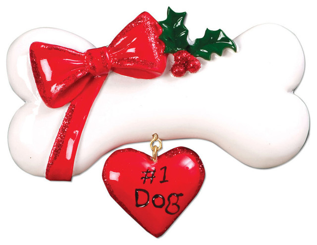 Personalizable Pets Ornament, Dog Bone With Bow