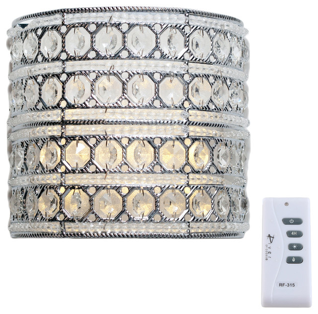 8 Glam Doll Silver Beaded Wireless Battery Operated Wall Sconce.