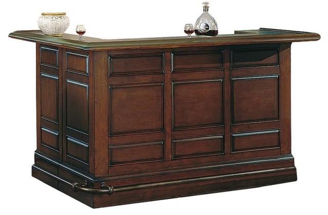ECI Furniture Manchester Raised Panel Return Bar, Burnished Oak - Traditional - Wine And Bar ...