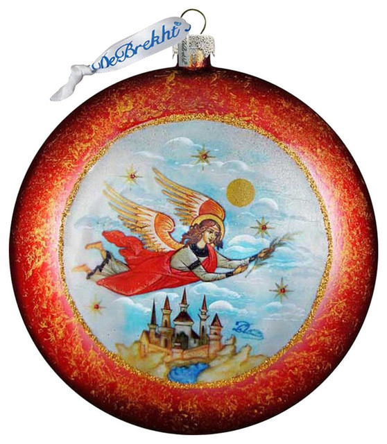 Hand Painted Limited Edition Guardian Angel Glass Scenic Ornament Traditional Christmas Ornaments By G Debrekht