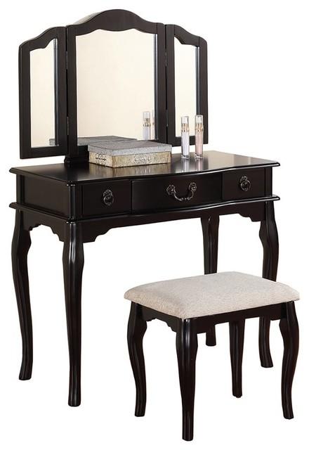 Poundex Furniture F409 Bobkona Susana Tri Fold Mirror Vanity Table And Stool
