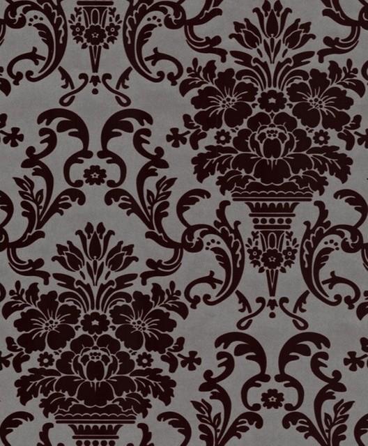 Caesar flock wallpaper brown grey wallpaper by for Flock wallpaper