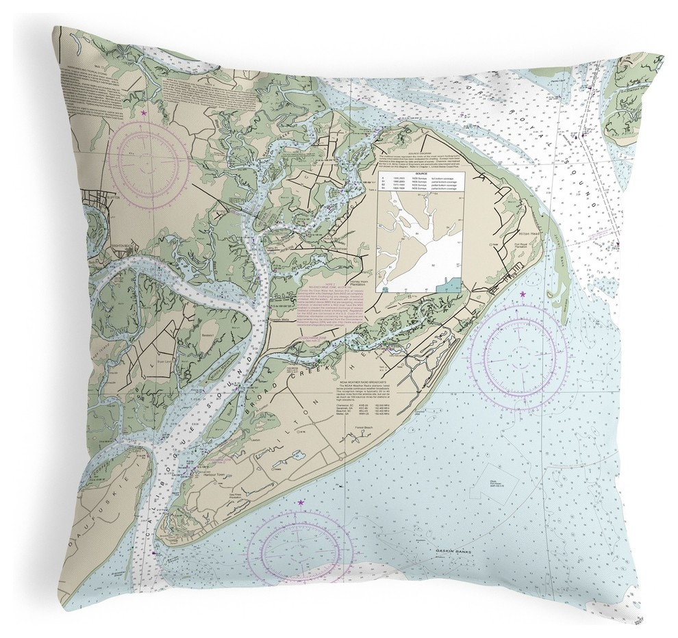 Betsy Drake Hilton Head Sc Nautical Map Noncorded Indoor Outdoor Pillow 18x18 Contemporary Outdoor Cushions And Pillows By Zeckos Houzz