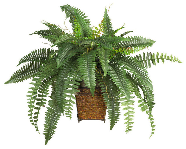 Nearly Natural Boston Fern With Wood Wicker Basket Silk Plant Green.