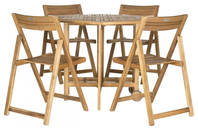 Safavieh Kerman Table And 4 Chairs, 5-Piece Set, Teak Look.