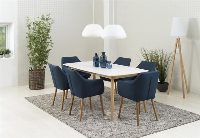 Nagane Dining Table And Nori Fabric Chairs, 6 Chairs