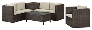 7-Piece Modern Rattan Chat Group, Brown
