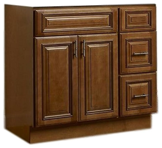 Jsi Kingston 42 Maple Vanity Cabinet Base With 2 Doors And Right Hand Drawers