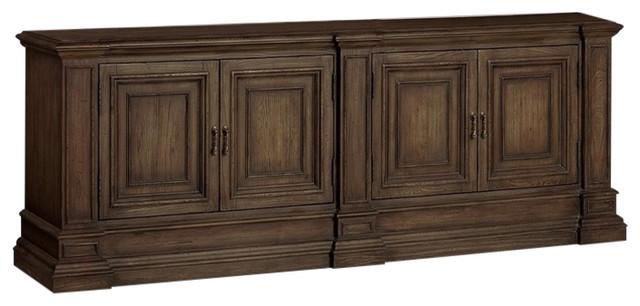 Rhapsody Double Bookcase Base, Medium Wood.