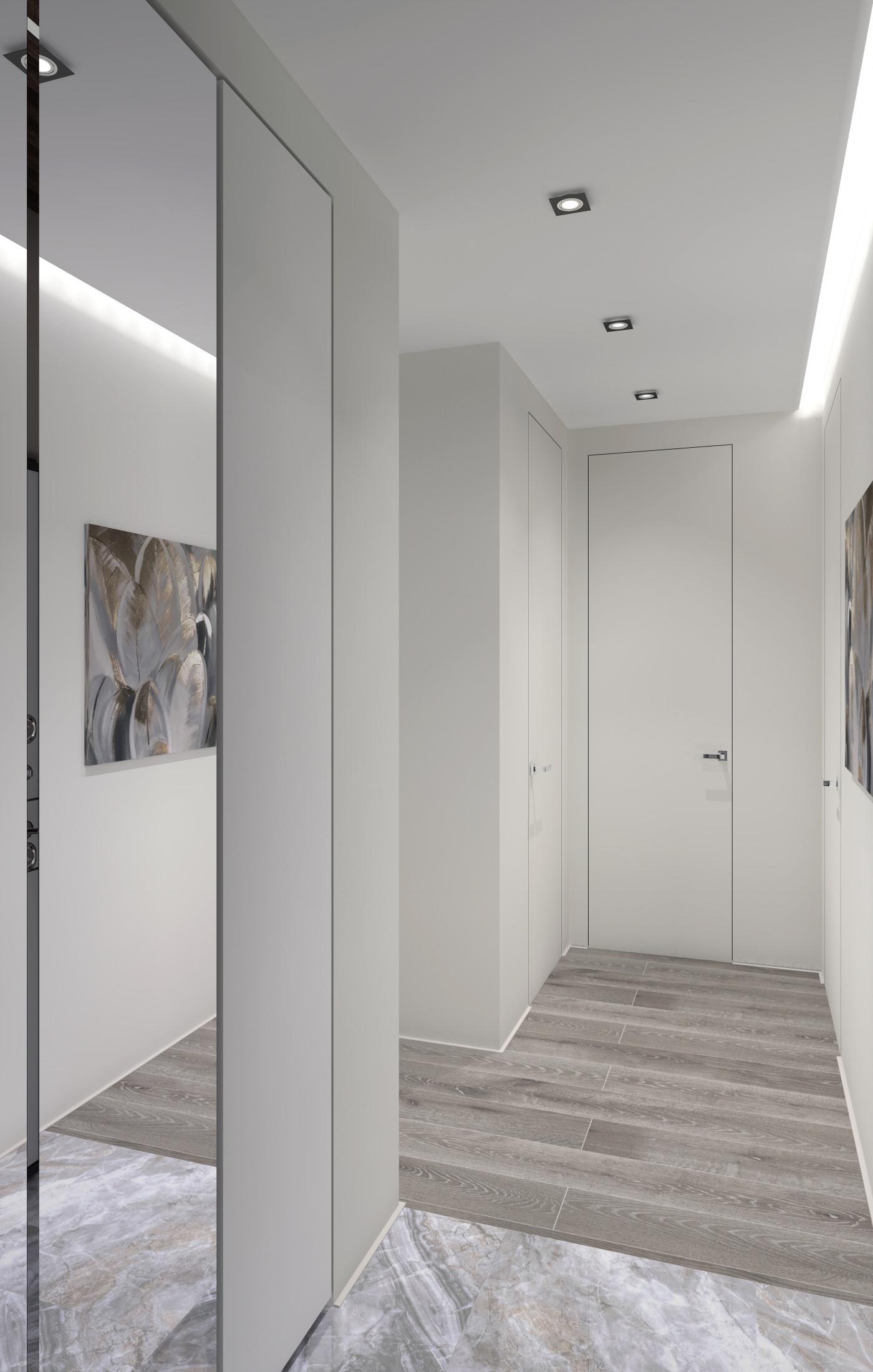 Белый коридор с зеркальным шкафом