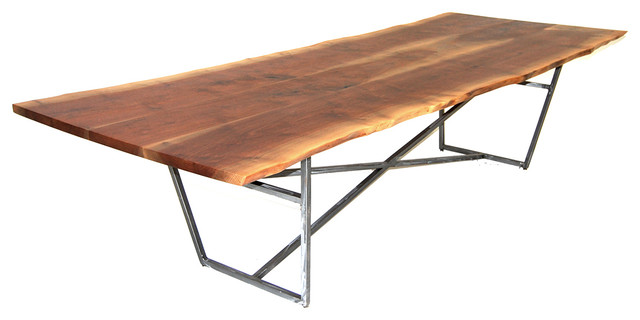 Natural Edge Dining Table With Steel Trestle Custom: Live Edge Dining Table, Brush Steel
