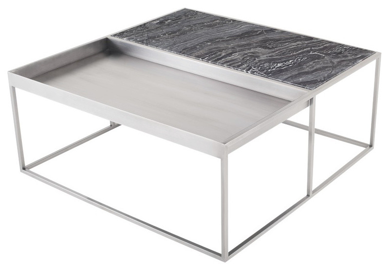 Corbett Square Coffee Table Stainless Steel Coffee Table Modern