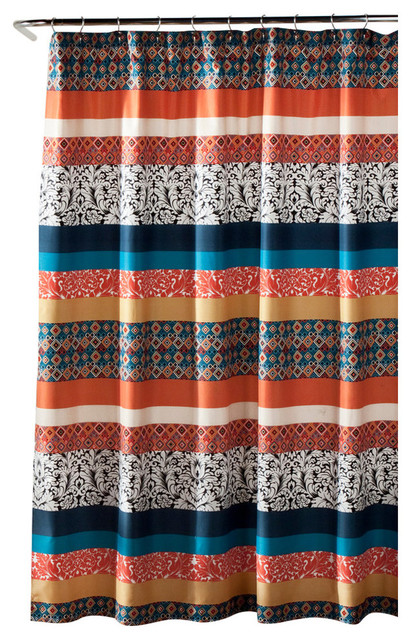 Boho Stripe Shower Curtain Turquoise and Tangerine - Shower ...