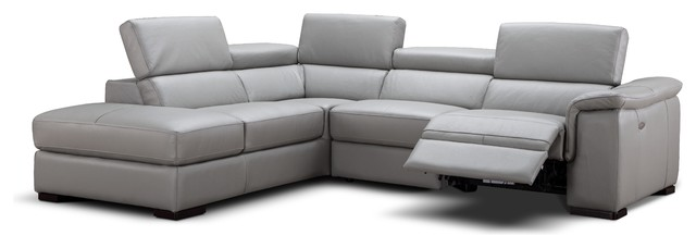 Perla Italian Leather Sectional Sofa With Power Recliner, Left Hand Facing