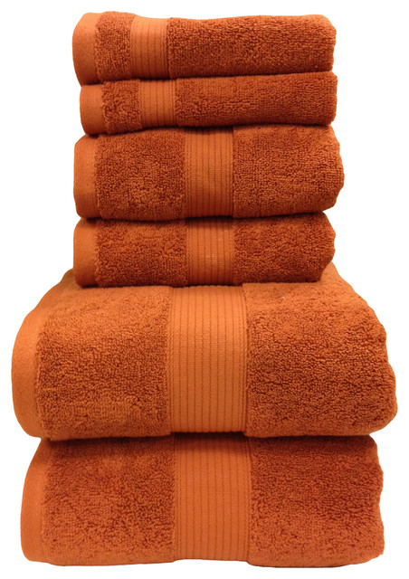 Plush 100% Cotton Towels, Super Soft 6-Piece Bath Towel Set, Copper.