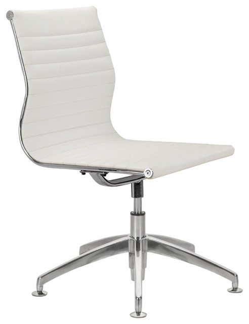 Modern L Ribbed Mid Back Chair, White.