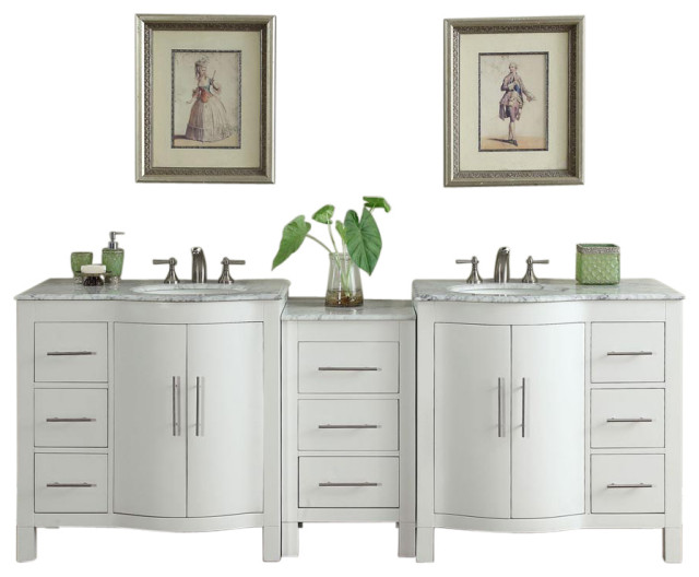 90 Inch Large White Double Sink Bathroom Vanity With Offset Sinks Transitional Bathroom Vanities And Sink Consoles By Silkroad Exclusive Houzz