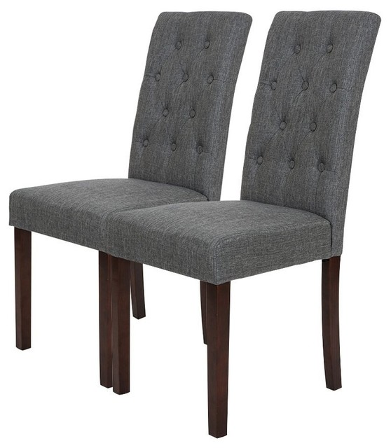 Fabric Dining Chair With Tufted Back, Gray, Set Of 2.