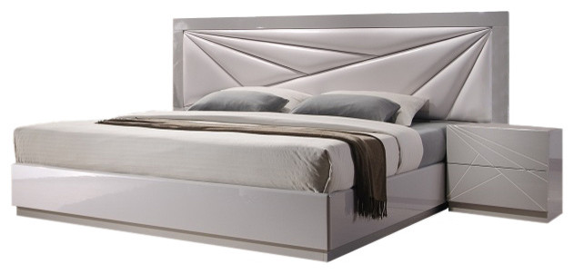 Charmant Florence Modern Style Upholstered Headboard Panel Bed, Queen Size