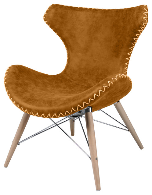 Ceylon Accent Chair, Wooden Legs, Antique Caramel  southwestern-armchairs-and-accent