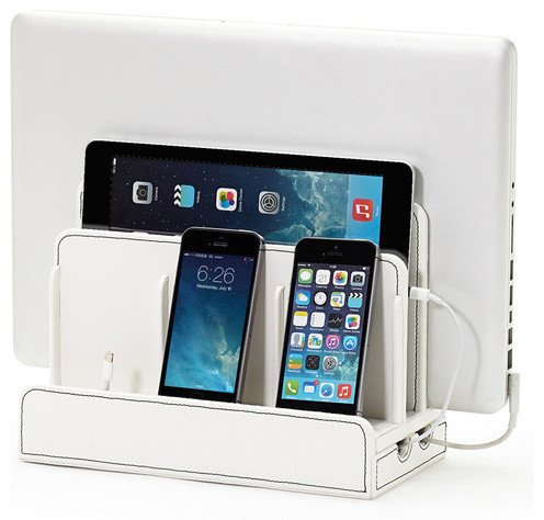 SMART Multi-Device Charging Station with USB+AC Power Hub, White Leatherette